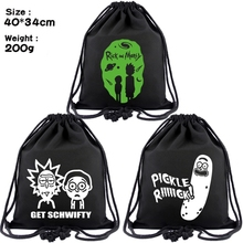 Rick and morty canvas Drawstring bags Pickle Rick Backpack Women Fashion Cosmeti