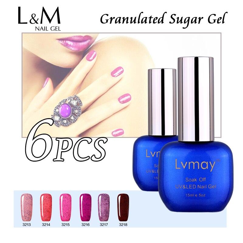 6 Pcs Free Shipping Lvmay Brand Granulated Sugar Gel Nail Polish Professional Bright Glitter Long Lasting Phototherapy UV LED