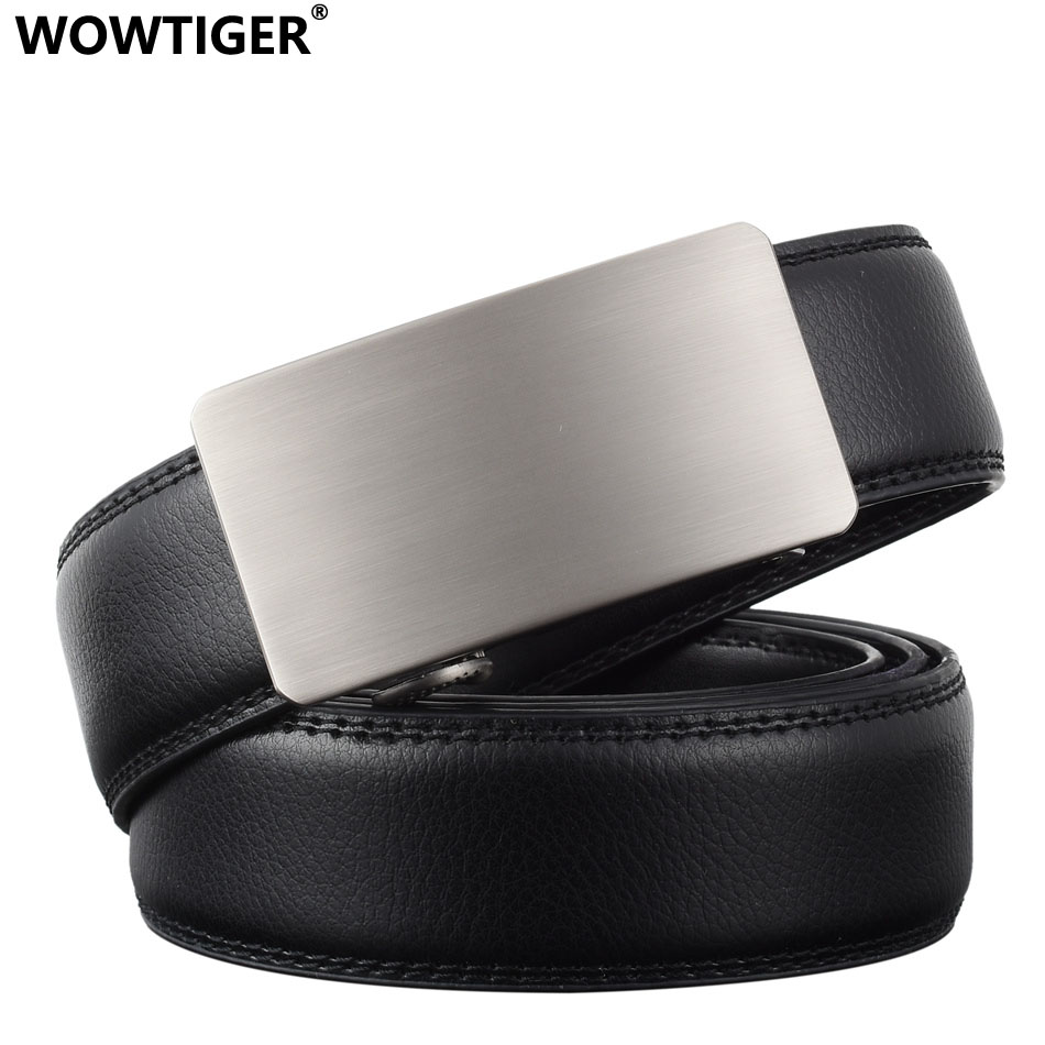 WOWTIGER New Fashion Designer Belts For Men Sliding Buckle Ratchet Luxury Leather Automatic Ceinture Homme Cinto Masculino Belt