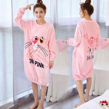 Daeyard Flannel Sleep Lounge Women Autumn Winter Long Sleeve Nightdress Plus Size Sleepwear Cute Cartoon Night Dress Homewear