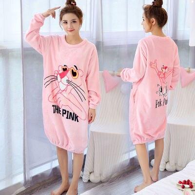 b844799ed1 Daeyard Flannel Sleep Lounge Women Autumn Winter Long Sleeve Nightdress  Plus Size Sleepwear Cute Cartoon Night Dress Homewear