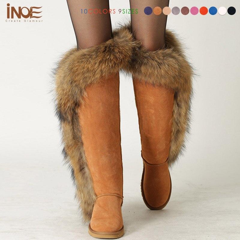 Mode fourrure de renard cuisse longue hiver bottes de neige pour les femmes fourrure de mouton doublé sur les bottes au genou pour dame en peau de mouton chaussures en cuir