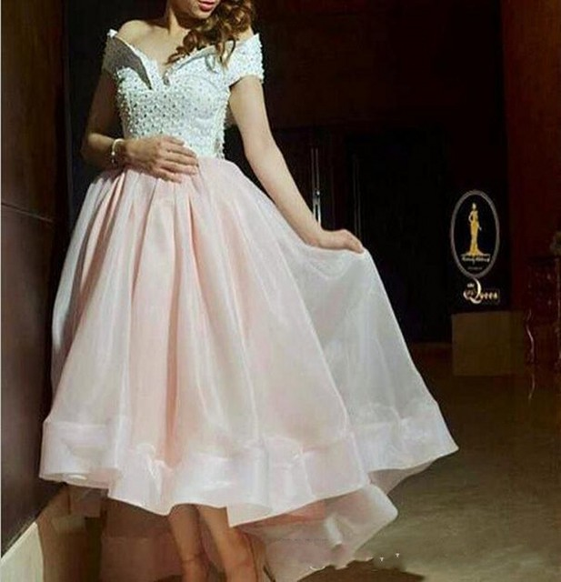 50c2a495b43 Best Off The Shoulder Short Evening Dresses Party 2017 Organza Skirt Pearls  High Low Islamic Prom Gowns Arabic Pakistani Dress