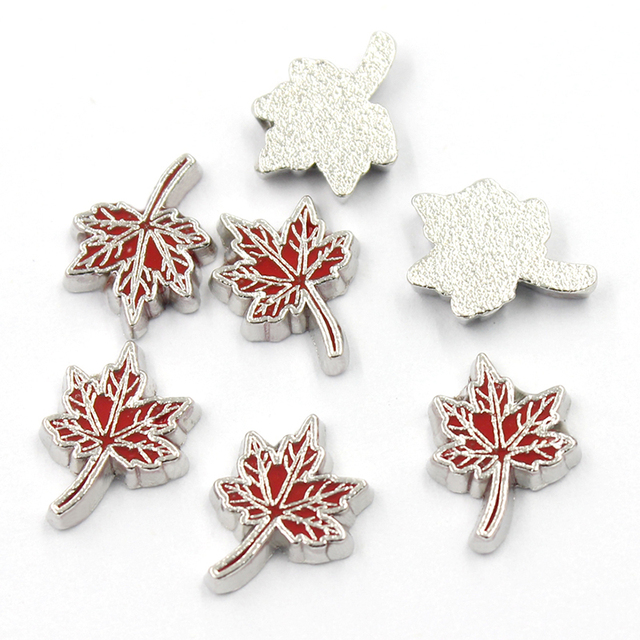 20pcs/lot new design canada leaves floating living memory charms