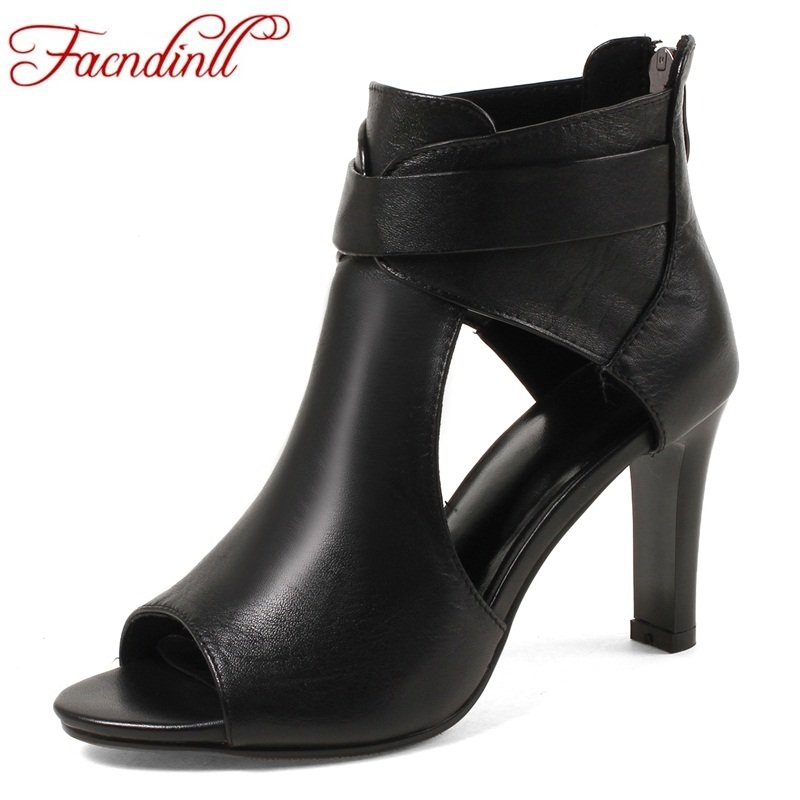 FACNDINLL 2018 fashion summer genuine leather sandals square high heels peep toe zipper shoes woman office dress party sandals facndinll new genuine leather women gladiator sandals fashion sexy high heels peep toe shoes woman dress party office lady shoes