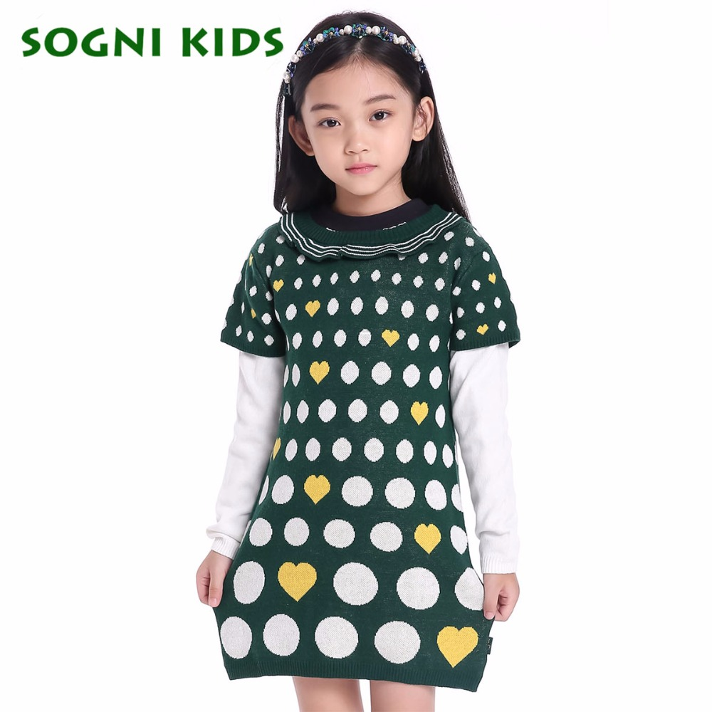 SOGNI KIDS New Brand Children Sweater For Girls Fashion O Neck Stitching Cotton Long sleeve Knitted