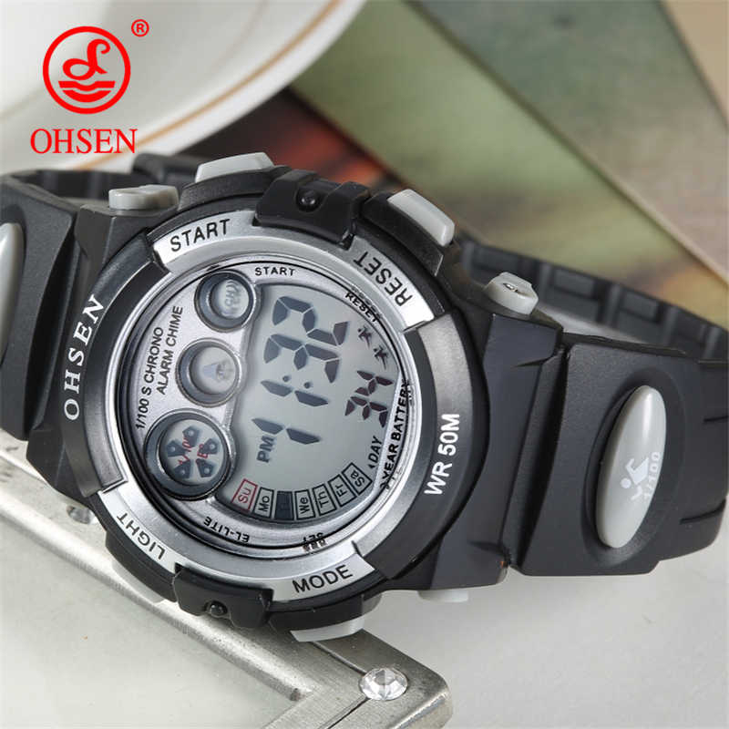 OHSEN Outdoor Sport Kids Watch Children Fashion Simple Watches Rubber Strap Waterproof Digital Watch reloj hombre Student Clock