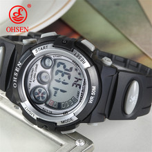 OHSEN Outdoor Sport Kids Watch Children Fashion Simple Watches Rubber Strap Waterproof Digital Watch reloj hombre Student Clock(China)