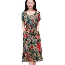 Women dress robe femme ete 2018 print vintage casual cotton dresses o-neck short sleeve beach plus size vestido de festa