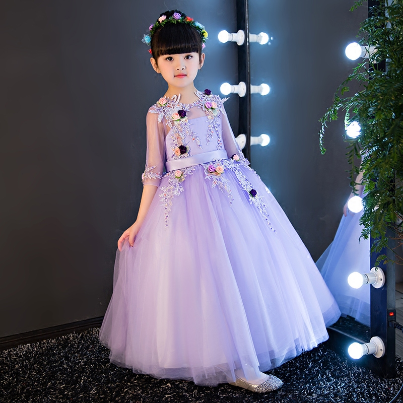 2017 European Luxury Champagne Baby Girls Clothes Girls Children Princess Party Prom Long Dresses Girls Wedding Ball Gowns Dress princess gowns luxury girls gowns ceremony girls long dresses for party and wedding clothes for teenage girls 14 to 17 years old