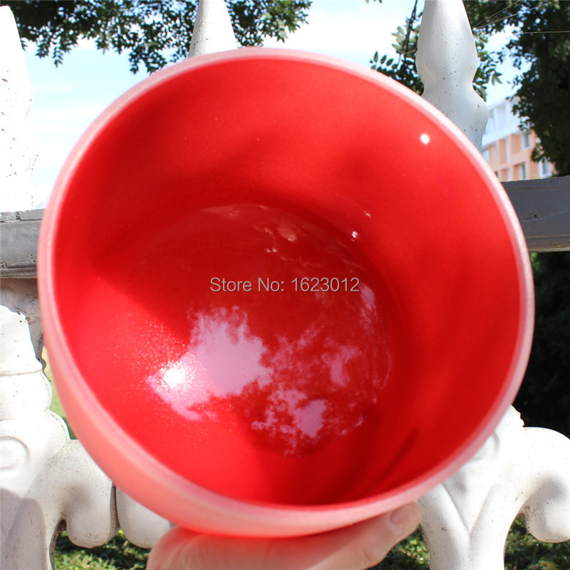 7 Red Colored Frosted Quartz Crystal Singing Bowl with C Note and Root Chakra7 Red Colored Frosted Quartz Crystal Singing Bowl with C Note and Root Chakra