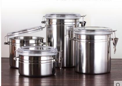 US $14.55 9% OFF Coffee bean sealed cans Stainless steel kitchen storage  bins Dried grain cans Milk powder Tea cans Food storage cans-in Storage ...