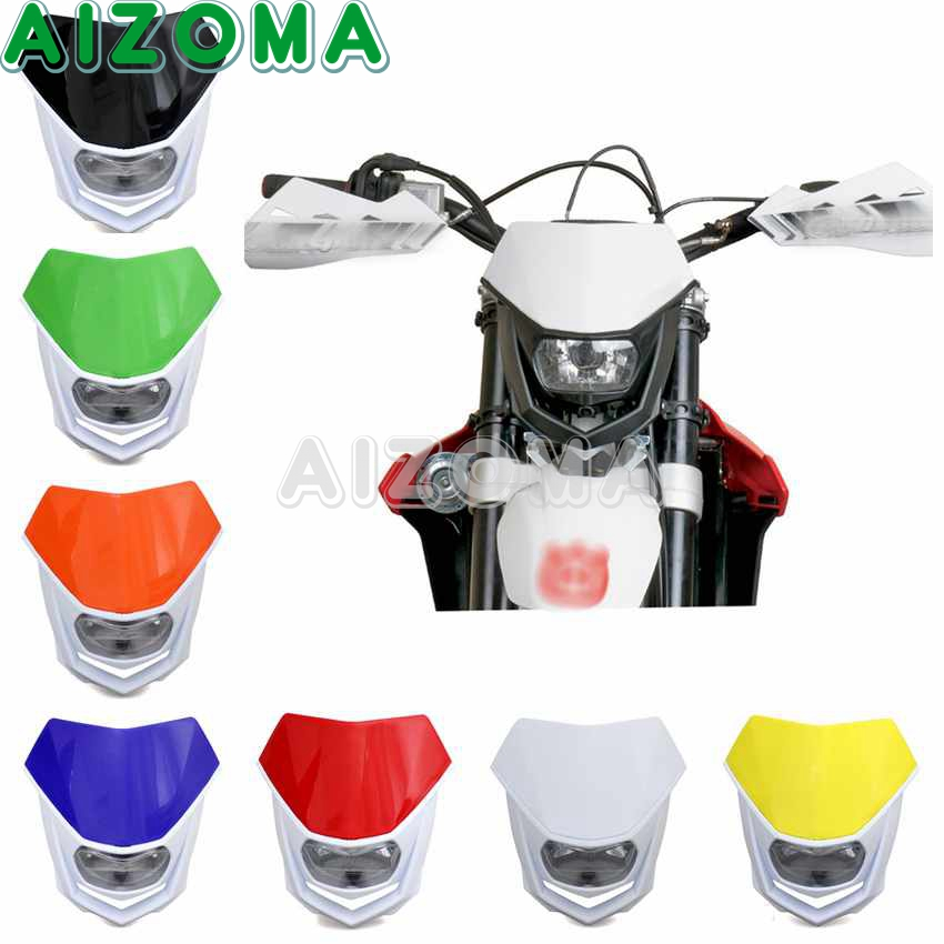 7 Colors Motorcycle <font><b>Dirt</b></font> <font><b>Bike</b></font> Enduro Motocross Supermoto 12V <font><b>Headlight</b></font> Mask For KTM Honda Suzuki Yamaha Kawasaki BMW <font><b>Universal</b></font> image