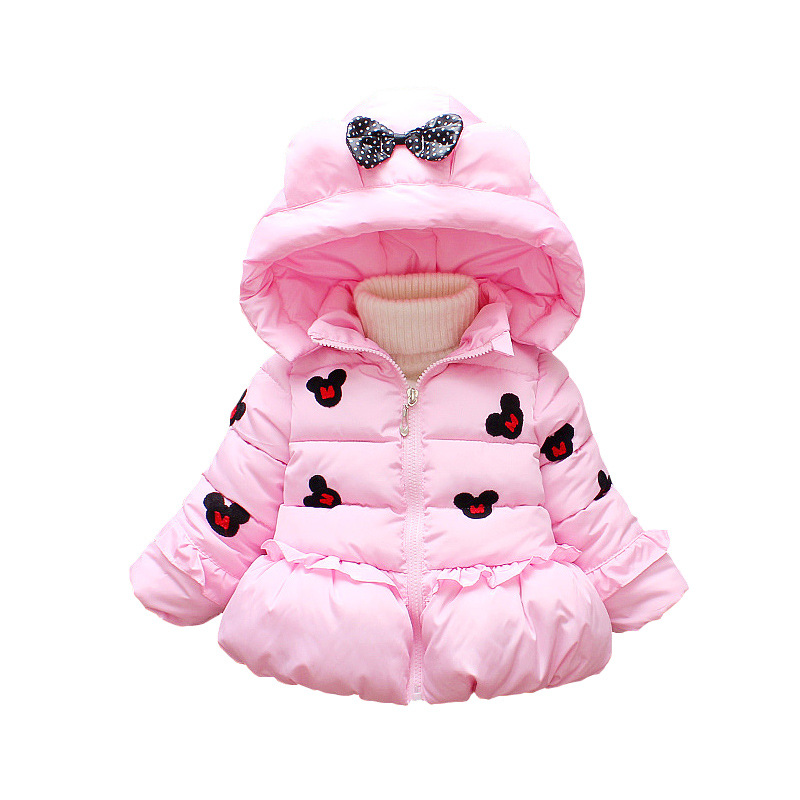 Anlencool 2018 girls winter children's clothing embroidered Mickey thickened warm cotton coat baby winter fashion cotton jacket sequin embroidered zip up jacket