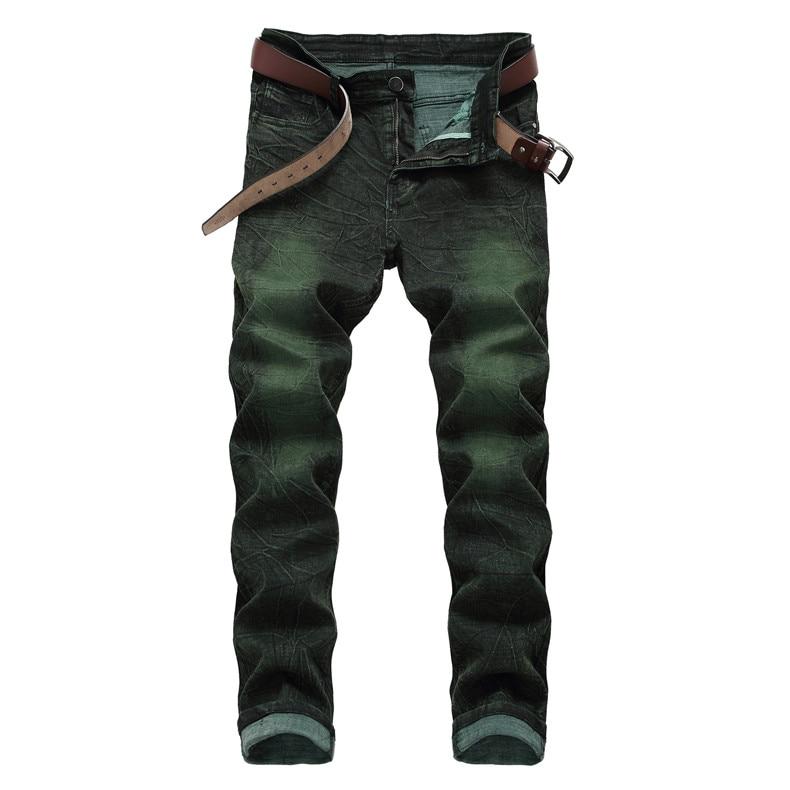 Men's Jeans Green Hip Hop Slim Biker Jeans Destroyed Fry Snowflakes Slim Fit Denim Pants Elastic Streetwear,6671