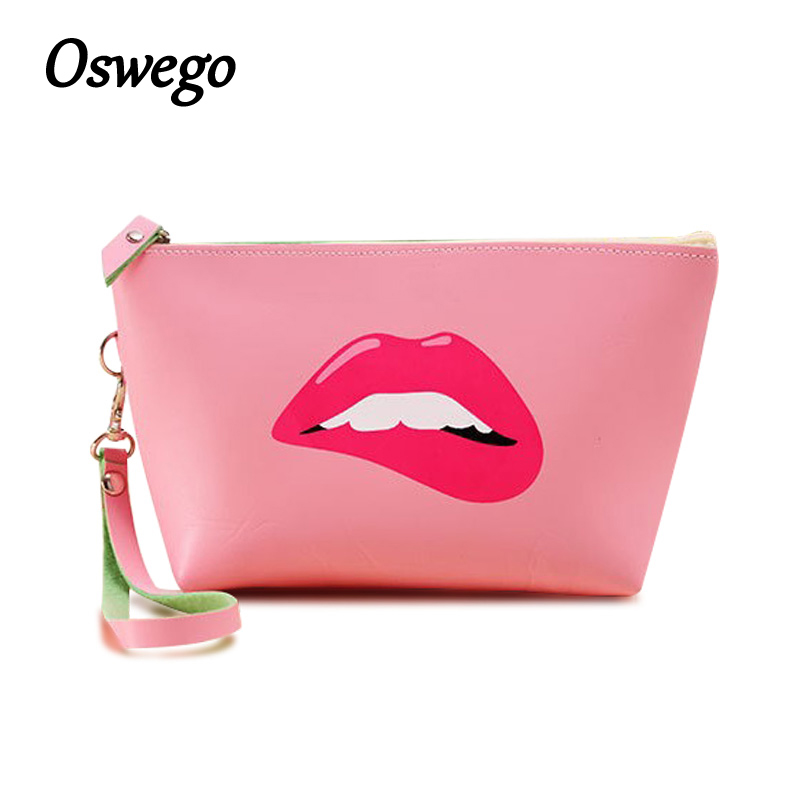 OSWEGO Waterproof Zipper Cosmetic Bag Lips Makeup Bag Big Capacity Storage Cosmetic Pouch with Hand Strap Organizer Clutch Bag school portable hand strap zipper closure files document bag black