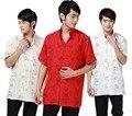 O Envio gratuito de estilo nacional chinês tradicional tecido Camisa de linho dos homens Chineses com dragão carta impresso tang terno JY052