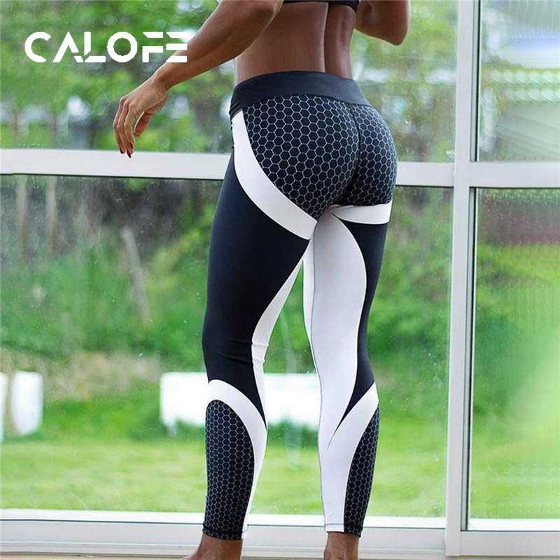 CALOFE Women Running Pants 2019 Spring Sweatpants Patchwork Slim Gym Fitness Elastic Jogging Training Leggings Women Sport Pants
