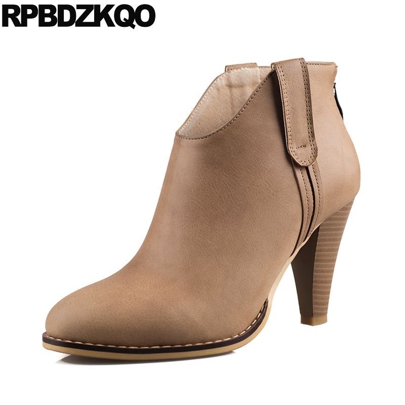 2017 Shoes Short Women Ankle Boots 2016 Round Toe High Heel Autumn Retro New Size 34 Vintage Chunky Booties Fall Fashion Ladies women ankle boots medium heel genuine leather booties vintage thick suede round toe chunky shoes slip on platform brown fall