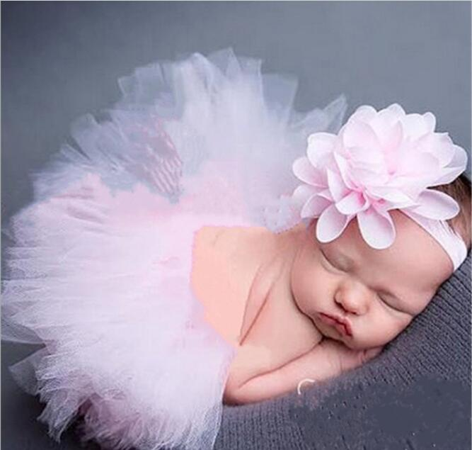 New Born Baby Sweet Pure Flowing Headband Tutu Dress Princess Party Costumes Birthday Festival Favors Decoration