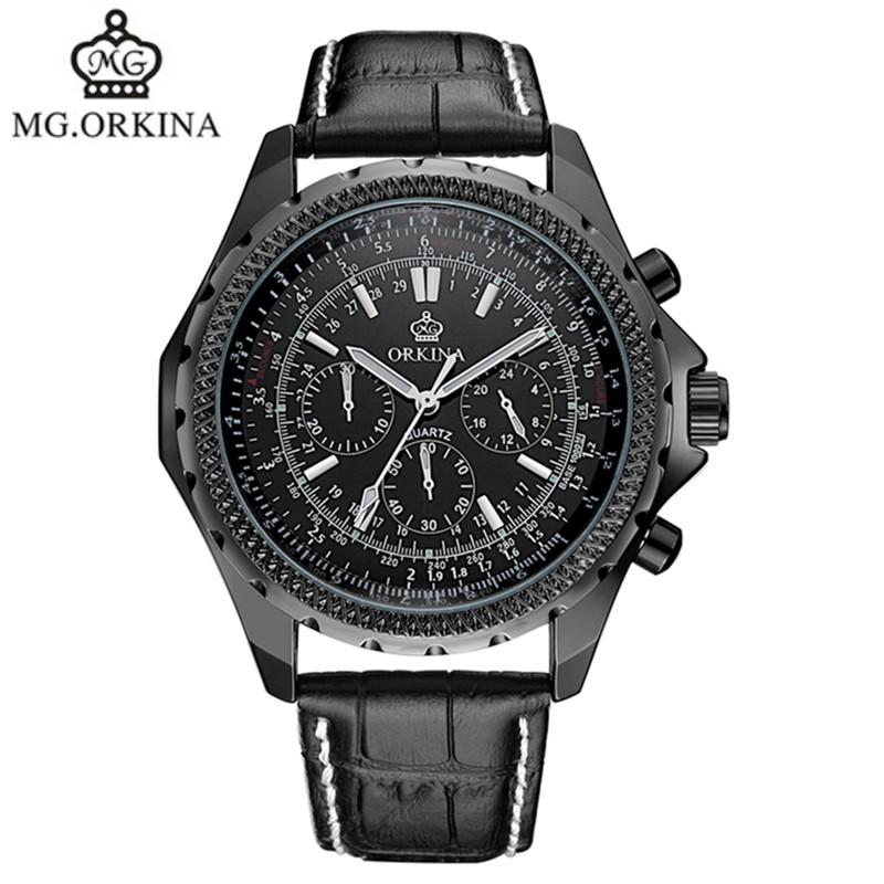 HOT ORKINA brand leather belt quartz watch fashion business table waterproof man watches 2016 brand luxury