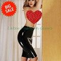 El envío gratuito! mujeres sexy de látex negro mini falda midi on-line de longitud de la rodilla imperio falda falda