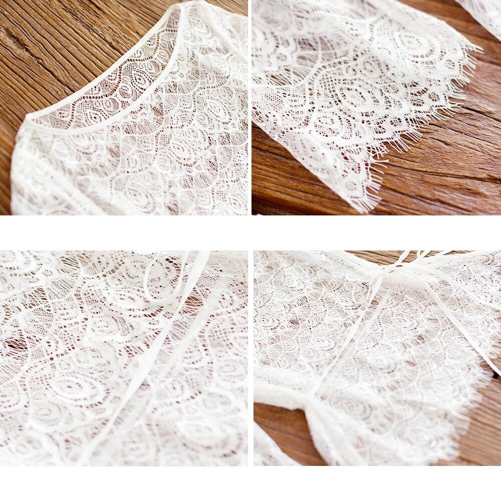 IRINAW619 nieuwe collectie zomer 2018 driekwart mouw vintage witte wimper kant top vrouwen shirt - 4