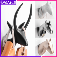 Robe Hook Black Clothes Coat Hook Wall Hanger Decorative Deer Head Bathroom Hook for Towels Key Bag Hat Rack Bathroom Hardware стоимость