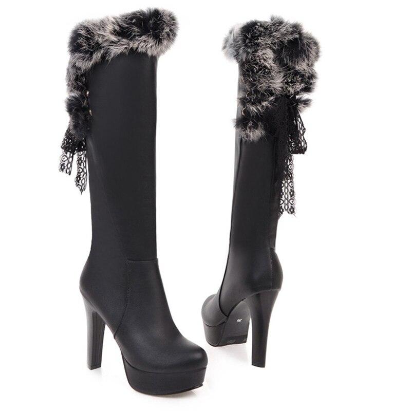 Fur Winter Boots 11cm High Heels Platform Mid Calf Boots Black White Lace Women Shoes Fashion Slip On Ladies Shoe Plus Size 43 mcckle 2017 ladies fashion sexy autumn winter ankle boots female slip on zip black solid platform high heels plus size34 43
