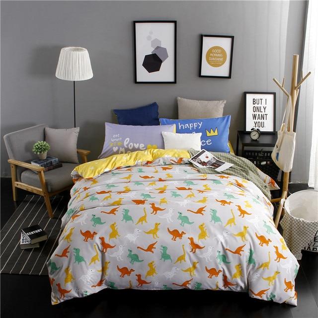 Dinosaur Family Cartoon Mix Style Bedding Set King Queen Double Single Size  Bed Linen Set
