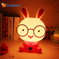 Lumiparty Cute Night Light Baby Room Wearing Glasses Rabbit Cartoon Night Sleeping Light Kids Bed Lamp