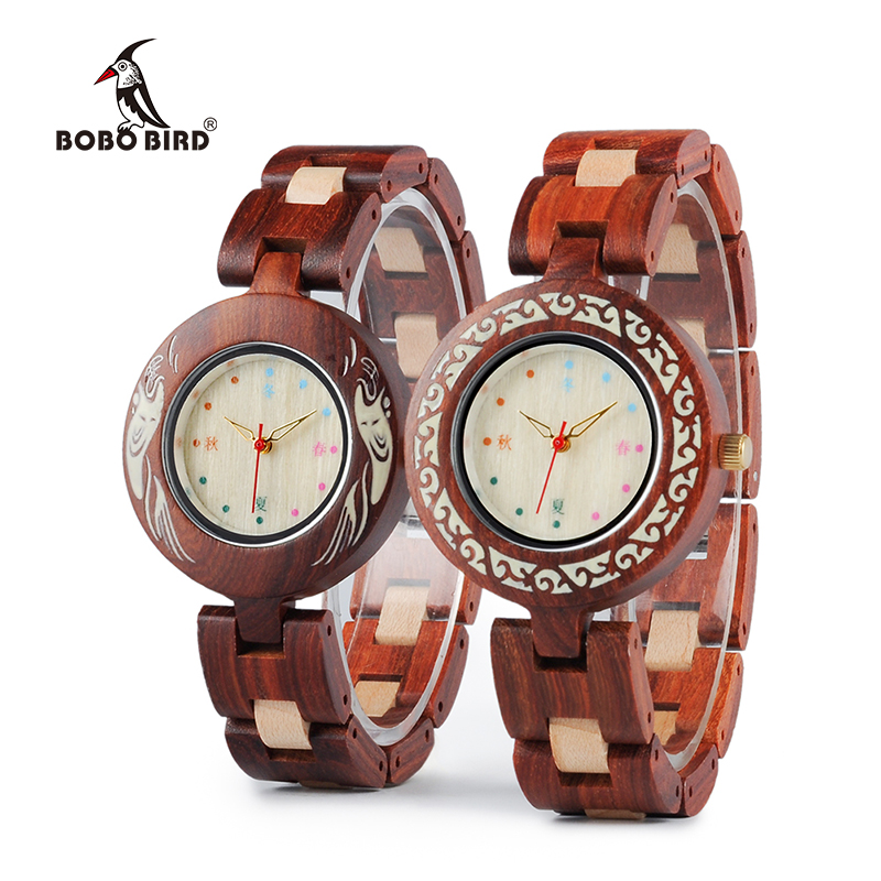 BOBO BIRD V-P15 Ladies Watch Japanese Style Unique Quartz Wristwatch with Red Wood Band Watches for Women