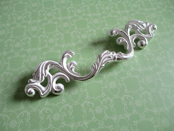 3 Dresser Pull Drawer Pulls Handles Cabinet Door Handle Knob Furniture Pulls Silver Bright / White Shabby Chic cabinet door handles and knobs wardrobe furniture pulls hardware door handle drawer pull bright side knob 96 224mm hole spacing