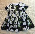 Новый Детское Платье Девушки Белые тюльпаны печатаются Платья Принцесса с коротким рукавом платье оптовая