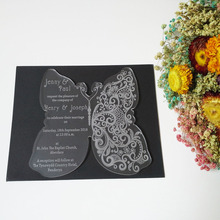 Customized 180 150mm butterfly shape frosted acrylic wedding invitation card 1lot 100pcs