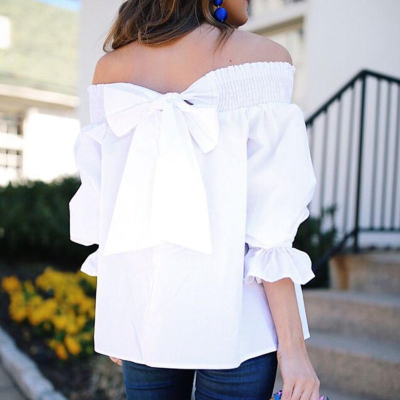New Sexy Womens Off Shoulder   Blouse     Shirt   Summer Tops Casual Stretch Flare Sleeve   Shirts   Bowknot Female   Blouses   White Black Pink