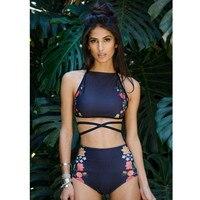 Angla Belle Bikini Set High Waist Swimwear Women Swimsuit High Neck Swimming Suit For Women Summer