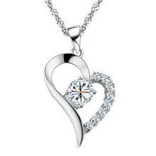 LUKENI 2018 Hot Female Crystal Heart Pendants Necklace Jewelry For Women Fashion 925 Silver Girl Valentines Day