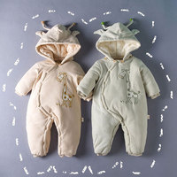 Autumn Winter 10 Degree Cotton Filled Romper For Newborns Baby Fashion Warm Cartoon Giraffe Outerwear Infant
