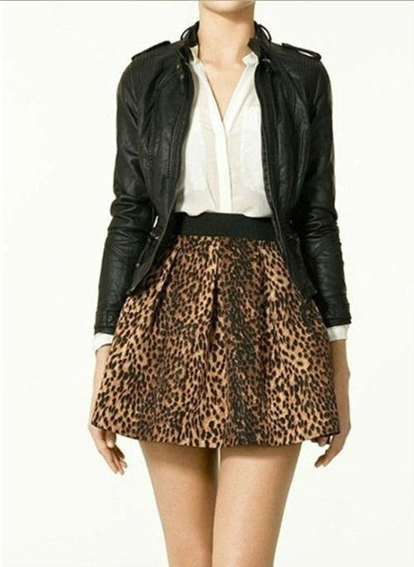 Hot grátis frete cintura elástica Leopard impresso plissadas saias com bolsos e zíper tamanho XS / S / M / L