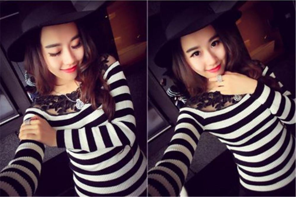 HTB1ornCJXXXXXaHXVXXq6xXFXXX7 - Blusa black white striped blouse shirts long sleeve