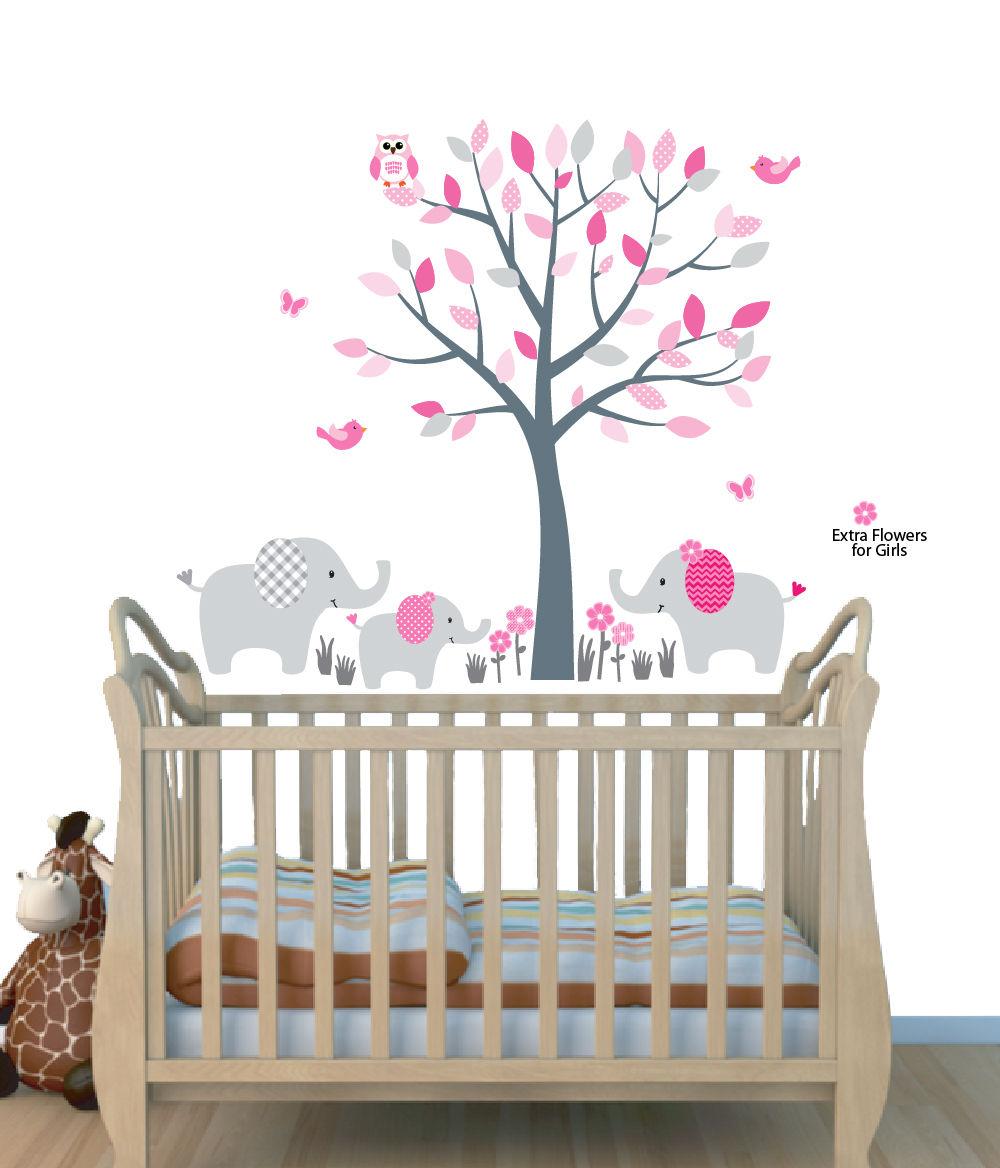 Elephant Tree Decals Elephant Wall Decals Mini Elephant Tree PinkGreen 3ET Decals for Girls Room