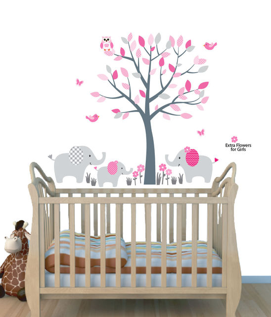 Elephant Tree Nursery Sticker Decal, Girls Room Wall Decor, Elephant ...