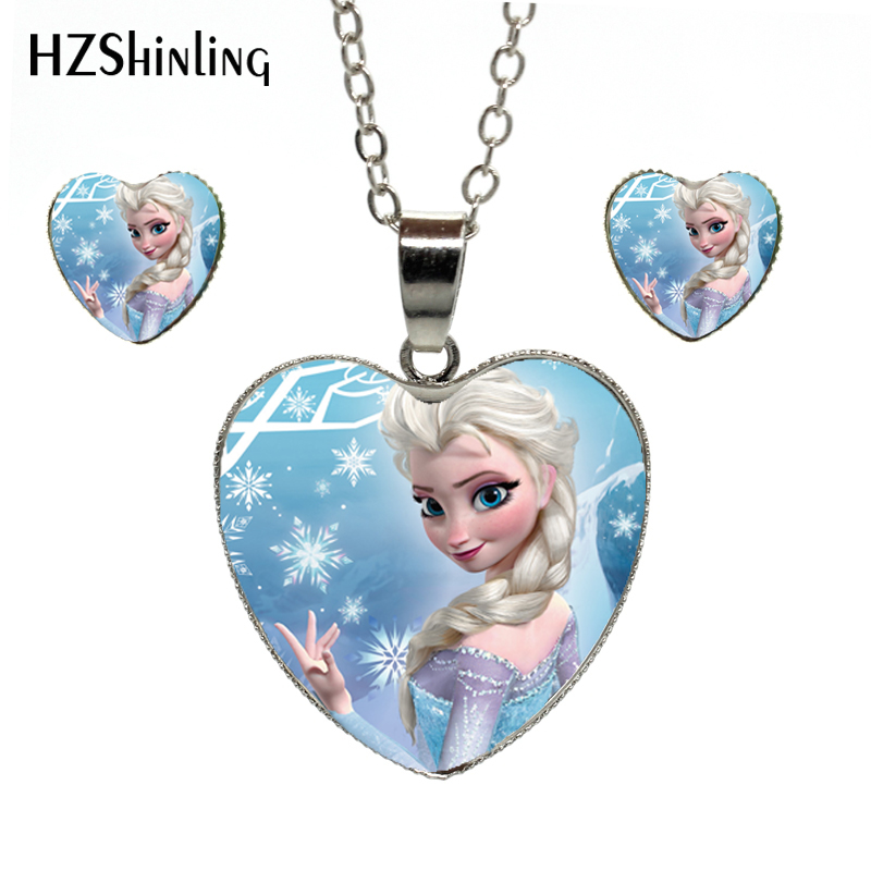 New Fashion Beautiful Princess Silver Color Heart Jewelry Set Princess Elsa Snow Queen Heart Necklace And Earrings Jewelry Gifts