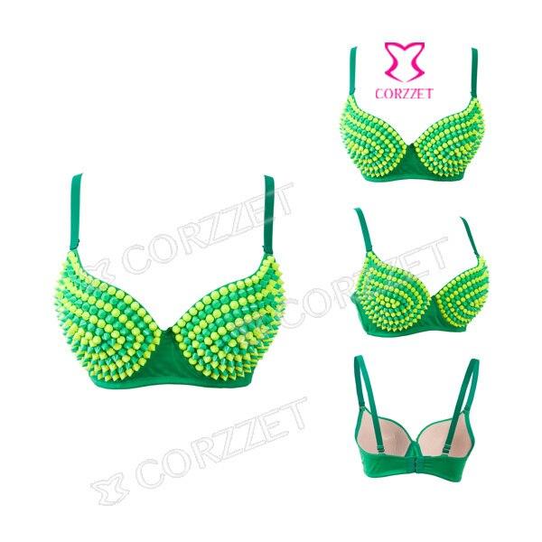 8f6d2c1406b81 Female Sexy Dance Clubwear Green Yellow Silicone Rivet Spike Stud Bralette  Brassiere B-cup Push Up Bra Top Punk Bras For Women