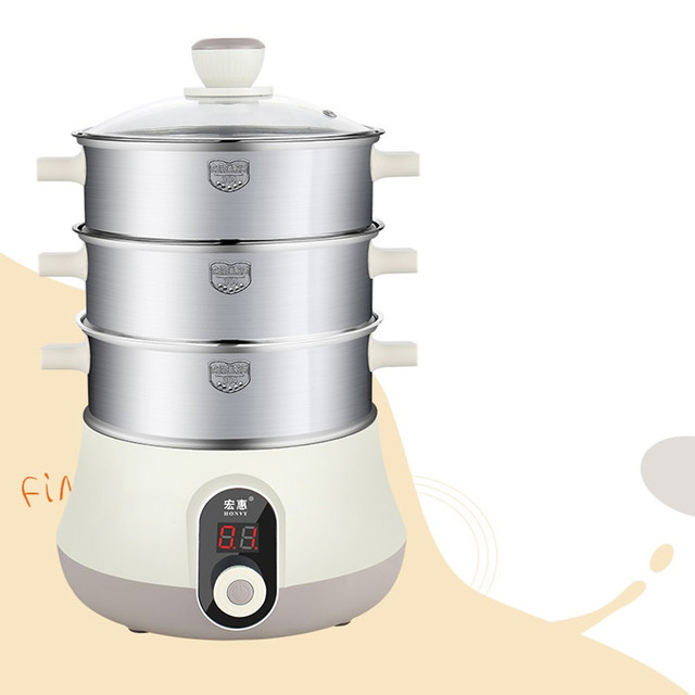 220V Household 3 Layers  Electric Steaming Pot Machine Stainless Steel Fast Steaming And Boiling Multi Cooker Auto-off & Timer