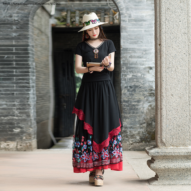 Hem Mesh Ethnic Vintage Long Floral Embroidered Faldas Women Dr2566 Skirts Black Maxi Skirt Big Tz1zvgqwnx