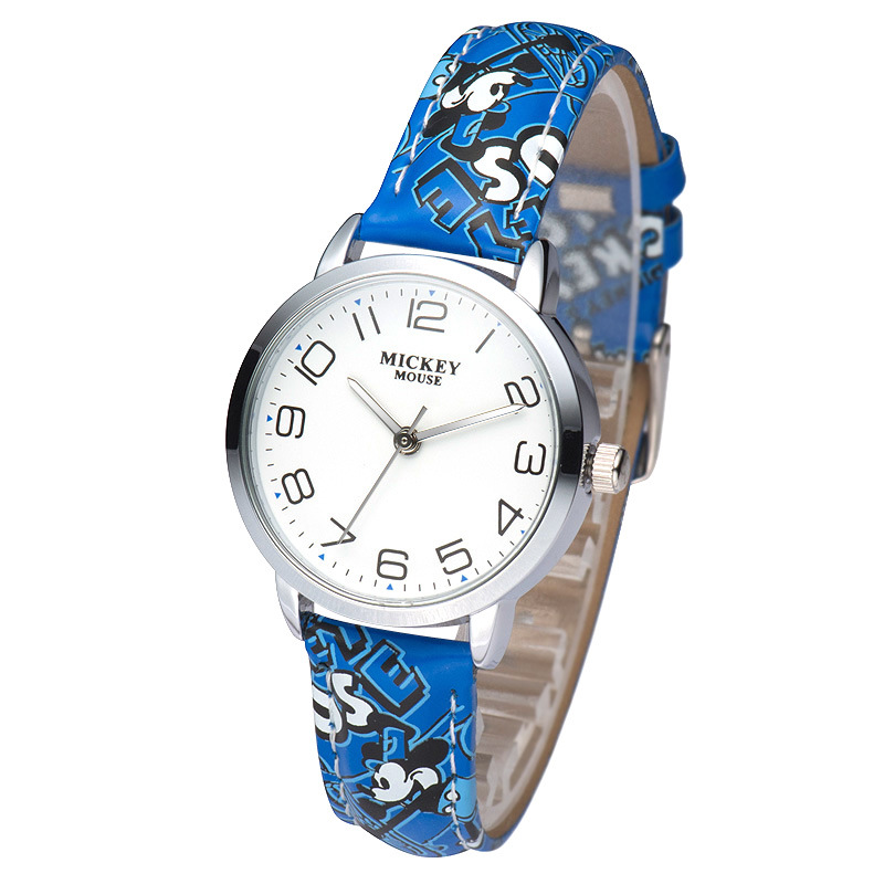 Disney Genuine Cartoon Mickey Mouse Boys Girls Watches Leather Quartz Students Boy Girl Clocks Waterproof Original Wristwatch