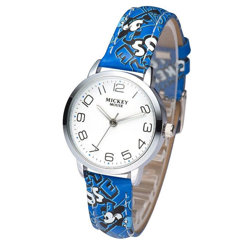 Disney véritable dessin animé mickey mouse garçons filles montres en cuir quartz étudiants garçon fille horloges étanche original montre-bracelet