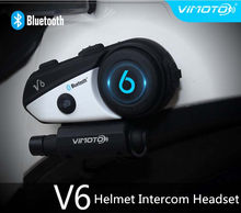 Vimoto V6 BT Interphone Motorcycle Helmet Headset Intercom simultaneously pair 2 different Bluetooth High-fidelity transmission(China)